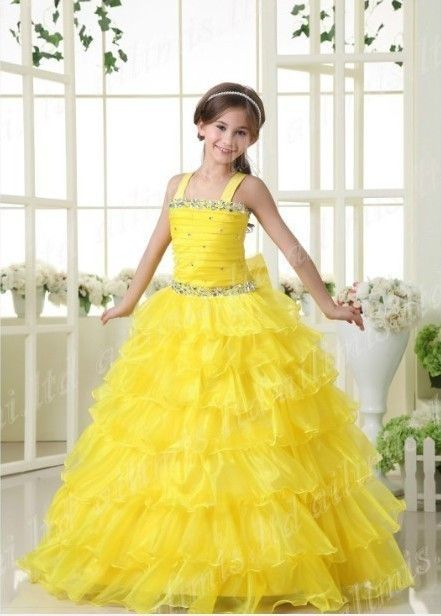 Girl Kids Pageant Dress Bridesmaid Dance Party Princess Ball Gown ...