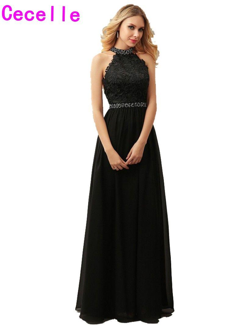 Click to buy ucuc elegant black aline chiffon prom evening dresses