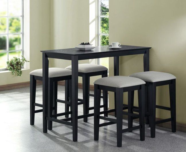 Monarch Specialties Grain Counter Height Kitchen Table, By Black