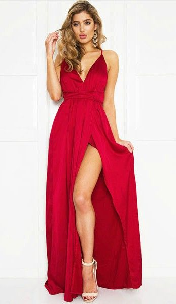 Elegant Red V Neck Cross Back Satin Long Dress | Pretty Things ...