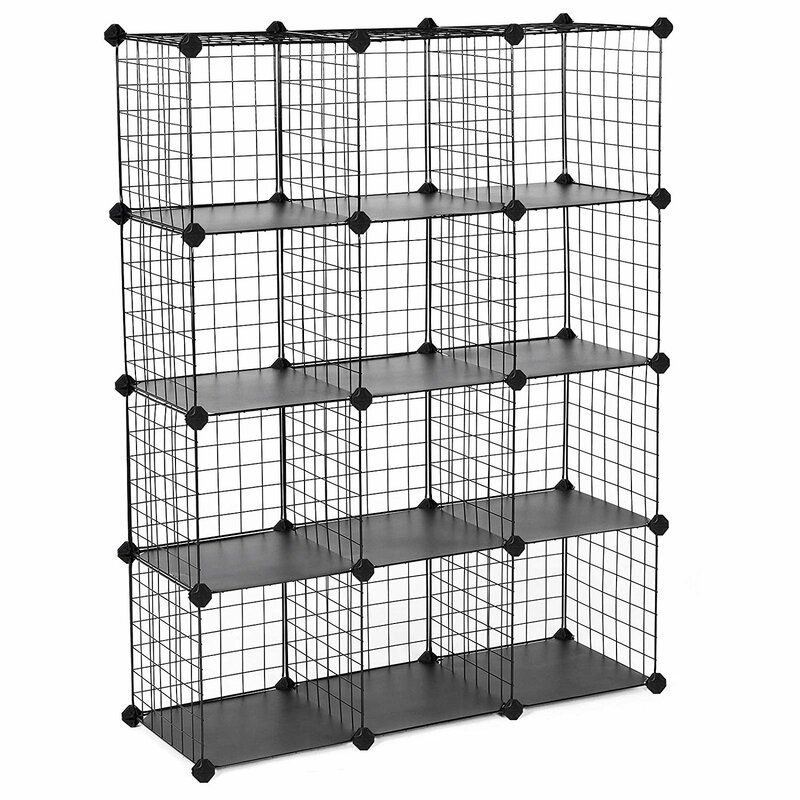 Metal Wire Cube Storage 12 Pair Stackable Shoe Rack In 2020 Cube Storage Stackable Storage Bins Stackable Shoe Rack