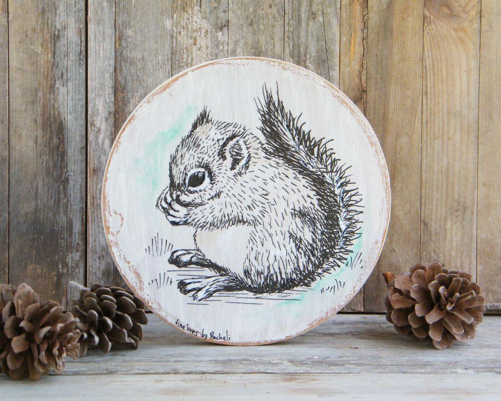 Squirrel art round wood sign squirrel wood print rustic nursery