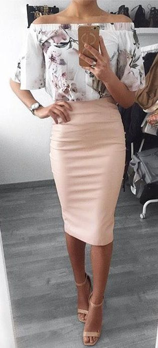 ae09701e17 #summer #outfits White Printed Off The Shoulder Top + Pink Pencil Skirt