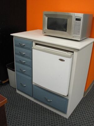 Office kitchen cabinet for mini-fridge and microwave