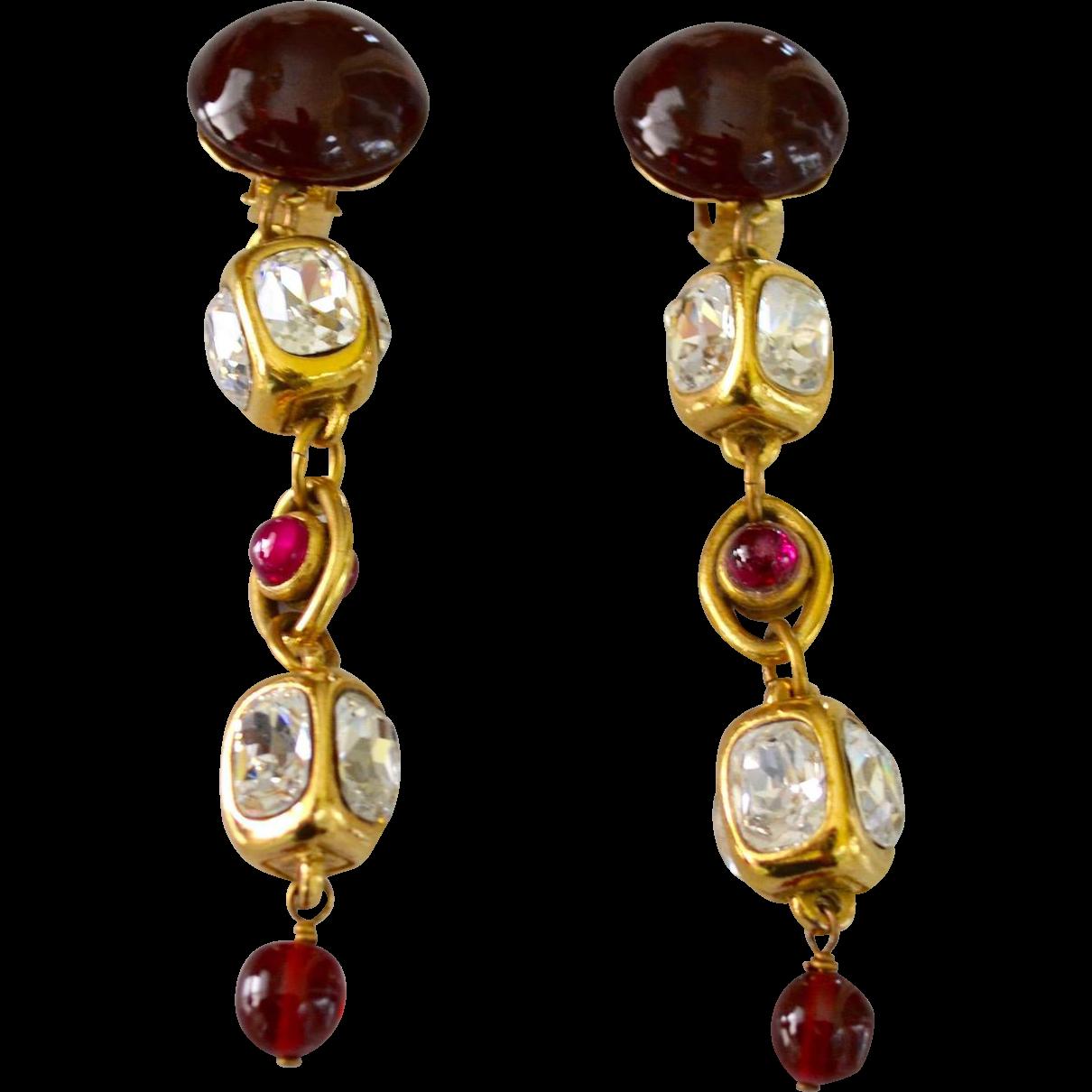 Vintage Chanel 12k Gold Plate Gripoix Gl Chandelier Earrings