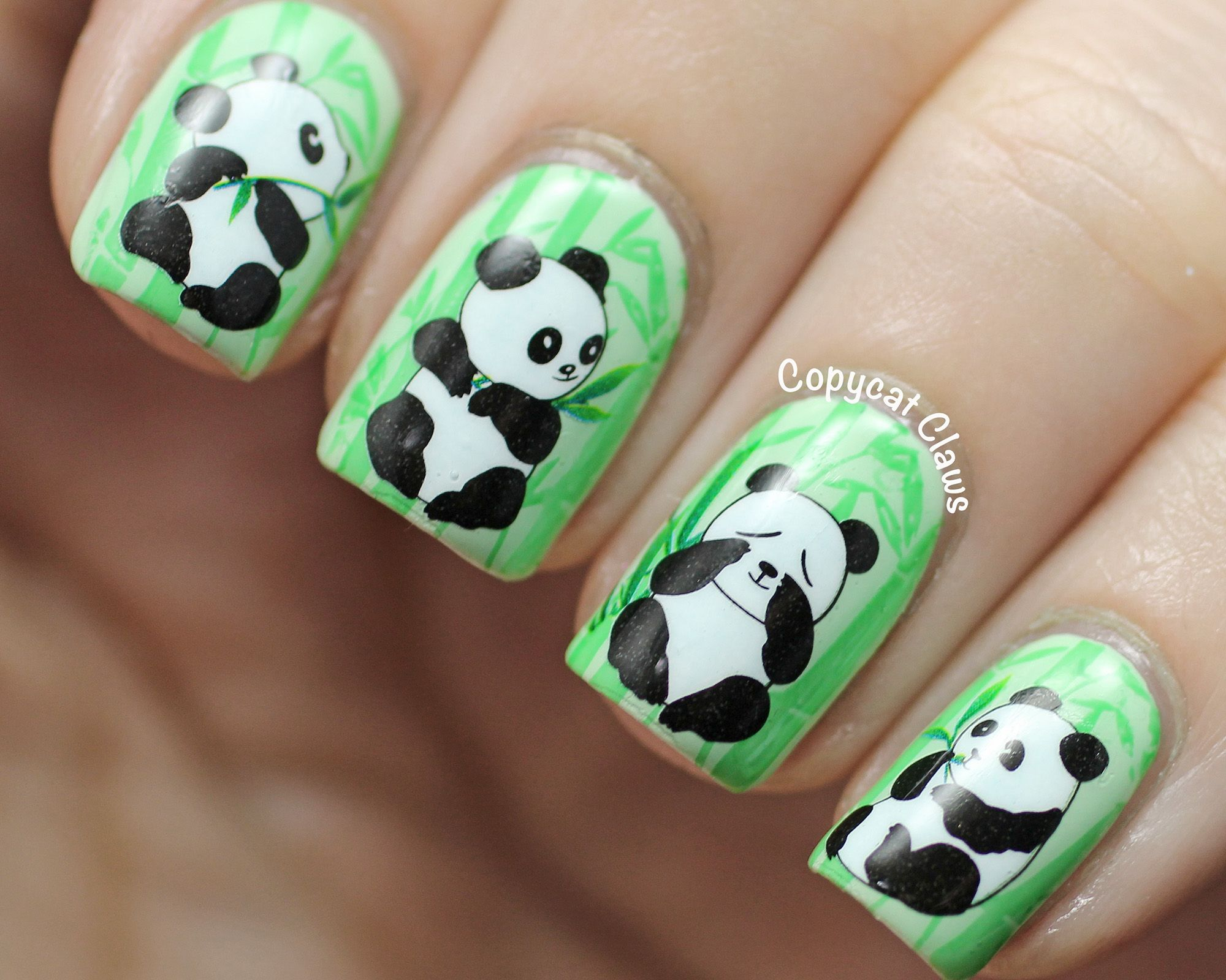 Copycat claws panda nail nails nailart nails pinterest image via panda nail art designs image via how to create cute panda nail art image via panda nails image via nail art water decals transfers sticker lovely prinsesfo Choice Image