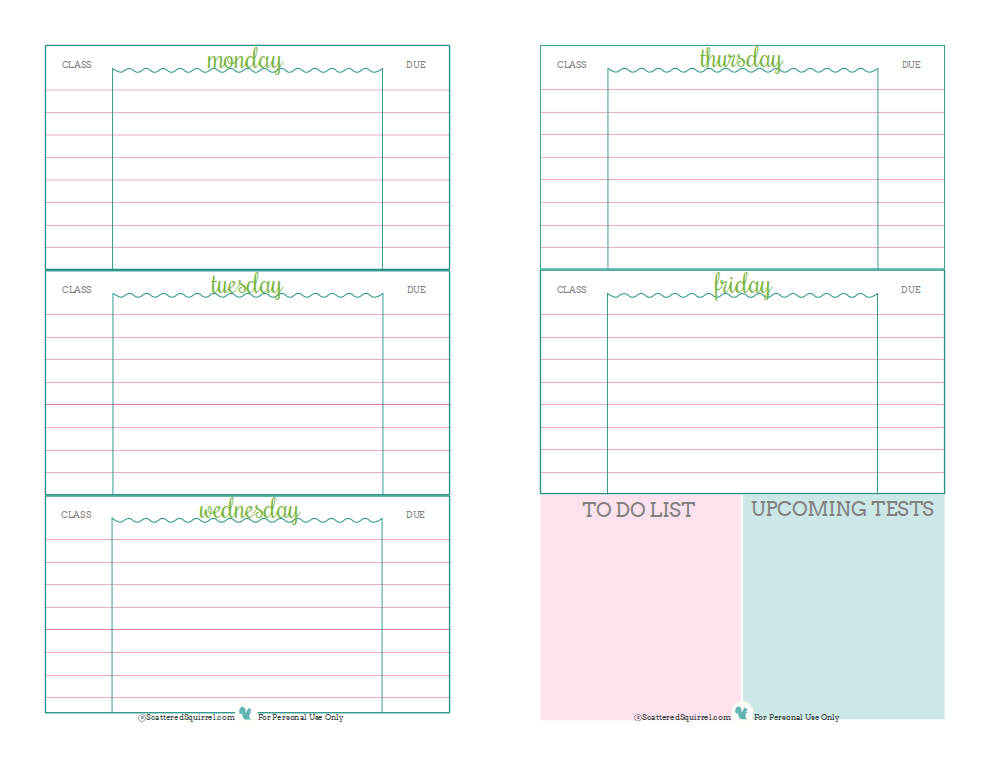 school homework planner template