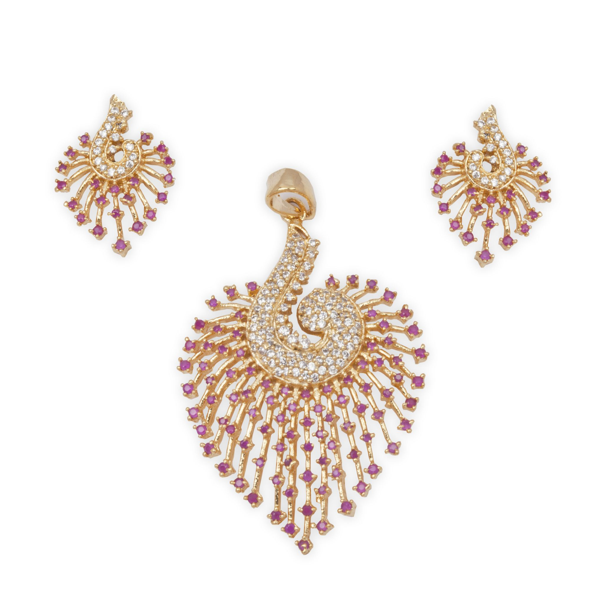 The Beautifully Designed Peacock design with Cubic Zircon and Ruby Stones
