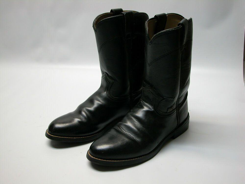 8f339e9391f Justin Basic Black Leather Roper Farm Ranch Western Boots Mens Sz 7 ...