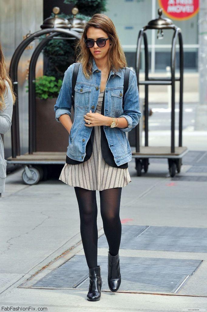 Jessica Alba Autumn Street Style With Denim Jacket Jessicaalba Fashion Pinterest Autumn