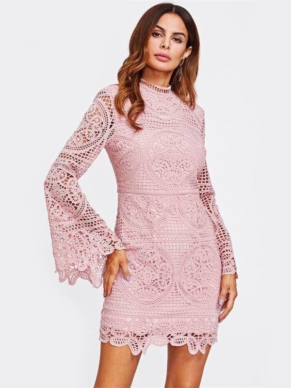 Vestido de Renda Manga Flare - Ref.1155   Boutique, Pink dresses and ...