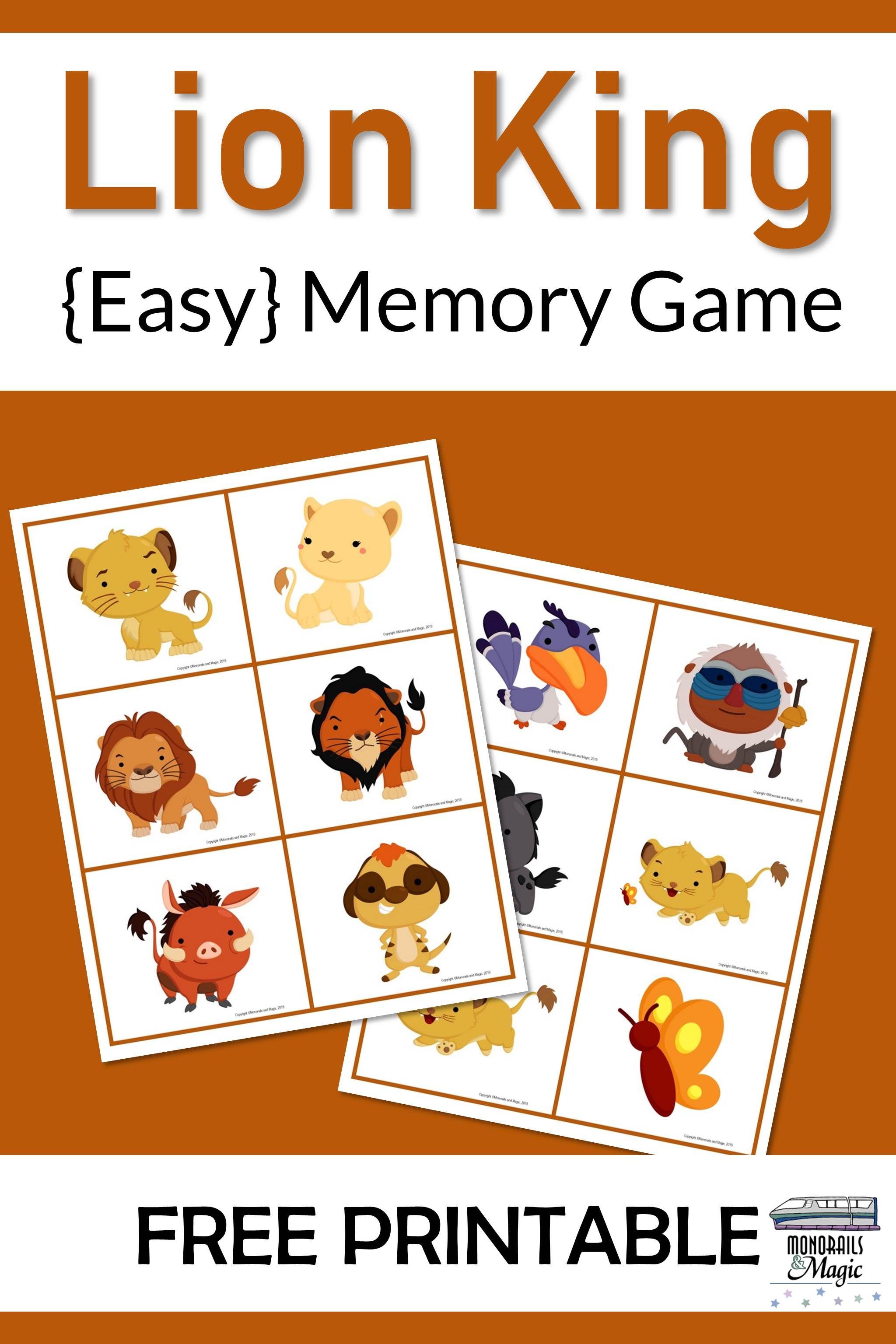 Lion King Memory Game Free Printable