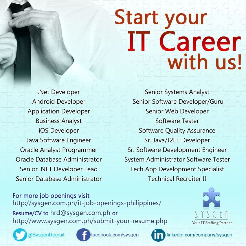 Start Your It Career With Us Visit HttpSysgenComPhItJob