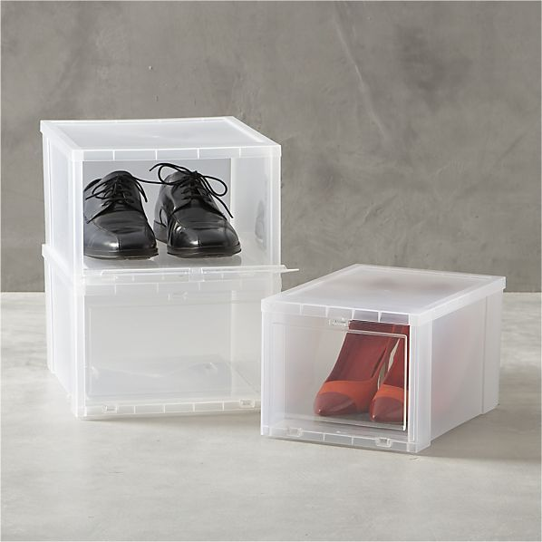 Clear Shoe Boxes I Crate And Barrel Get Organized Shoe Box Storage Clear Shoes Drop Front