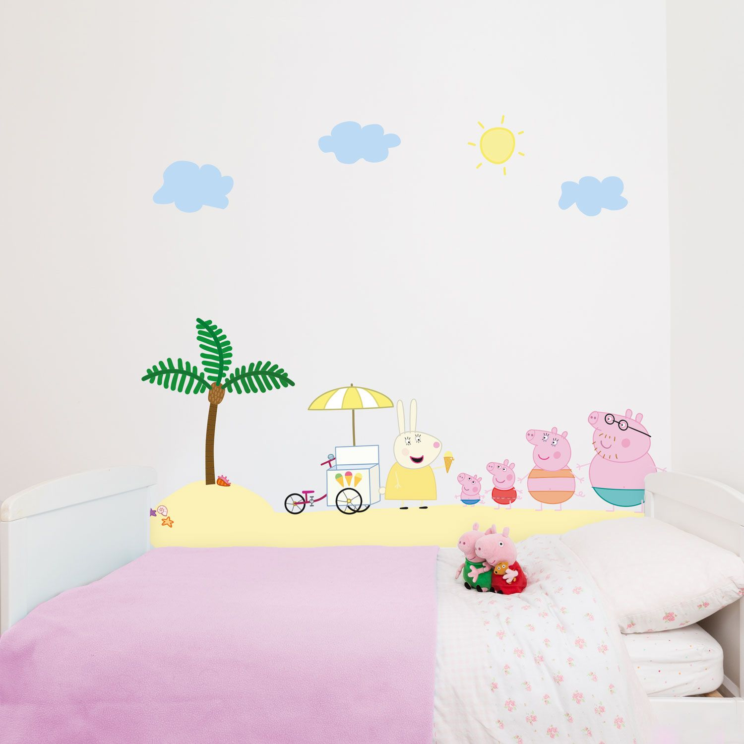 Peppa Pig and Family on holiday wall stickers pack