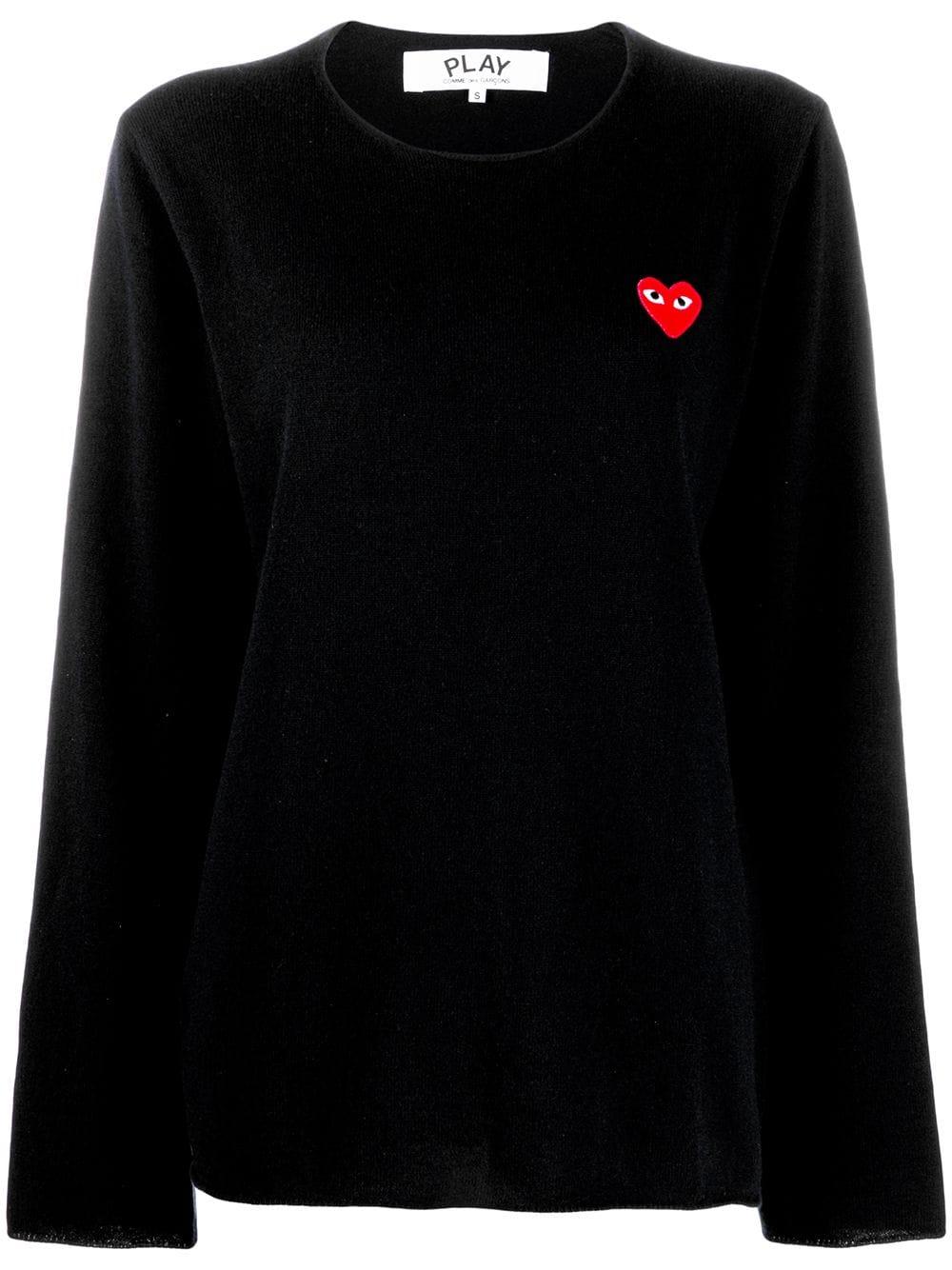 Comme Des Garçons Play Heart Motif Sweater In Black Modesens Sweaters Play Hearts Comme Des Garcons Play