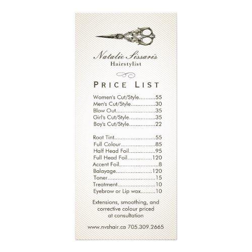 Price List Antique Scissor Vintage Hair Salon 2 Rack Card Zazzle Com Vintage Hair Salons Home Hair Salons Hair Salon Price List