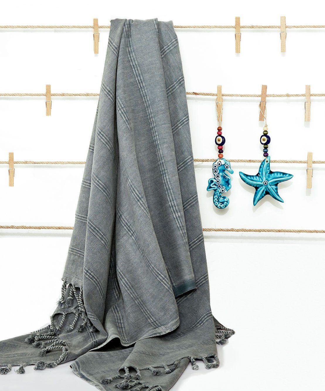Stonewashed Cotton Turkish Towels With Fringes Turkish Towels
