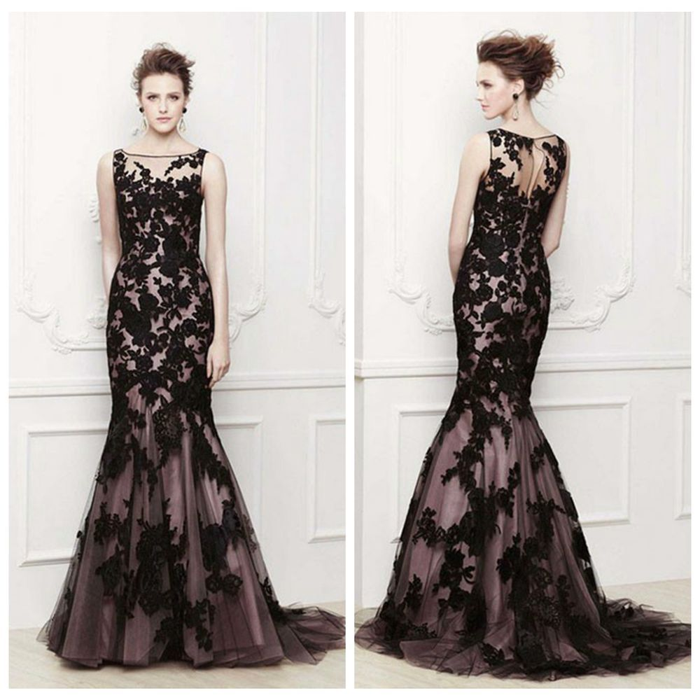 Mermaid high neck black applique lace cocktail evening dresses prom