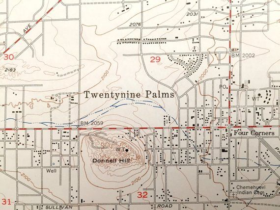 Twentynine Palms California Map.Antique Twentynine Palms California 1955 Us Geological Survey