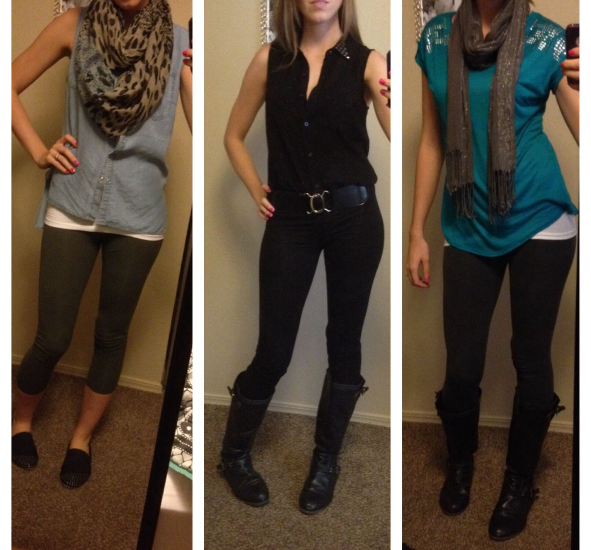 Leggings outfits, #falloutfits outfit inspiration from my closet, boots, scarf