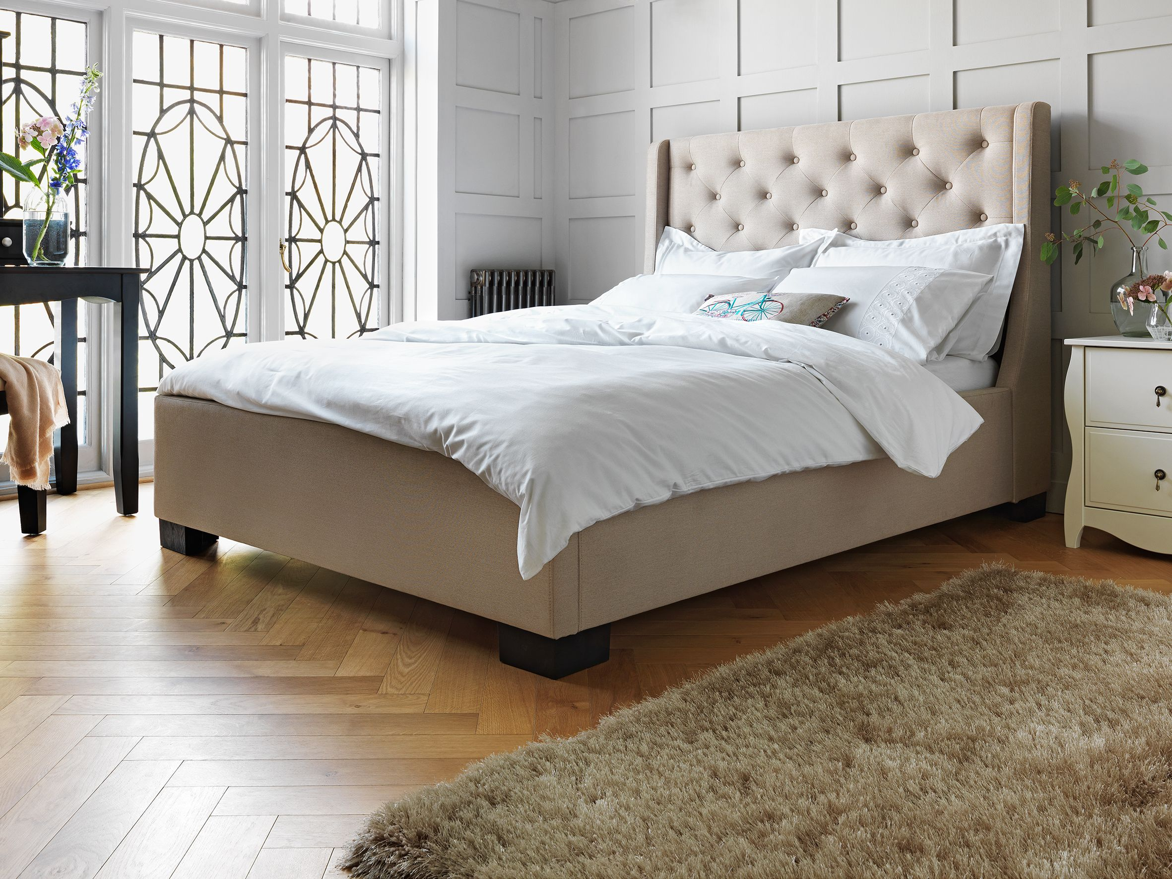 Best Buy Argos Home Levena Kingsize Quilted Bed Frame Natural 400 x 300