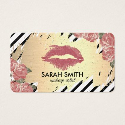 Floral and kiss golden business card makeup artist gifts style business cards reheart Image collections