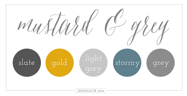Mustard Grey Color Palette Dinosaur Stew