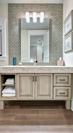 Grey Penny Tile Wall As Backsplash While Framing Mirror