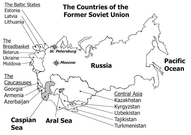 Outline Map Of The Former USSR Discover The World Pinterest - Kyrgyzstan map quiz