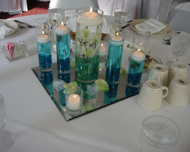 Filler for wedding centerpieces quot cylinder with aqua