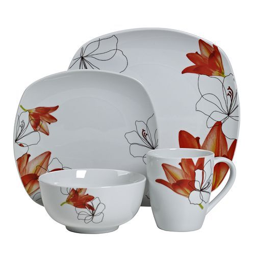 Elegant Tabletops Gallery Lily 16 Pc. Square Dinnerware Set