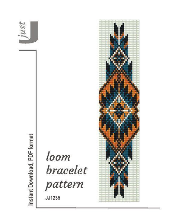 Bead loom pattern, native american bracelet, loom bracelet pdf, american jewelry, american pattern, cuff bracelet