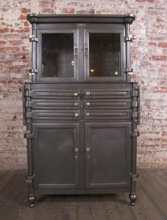 Vintage Aseptic Metal & Glass Dental Cabinet - Vintage Aseptic Metal & Glass Dental Cabinet Industrial Style