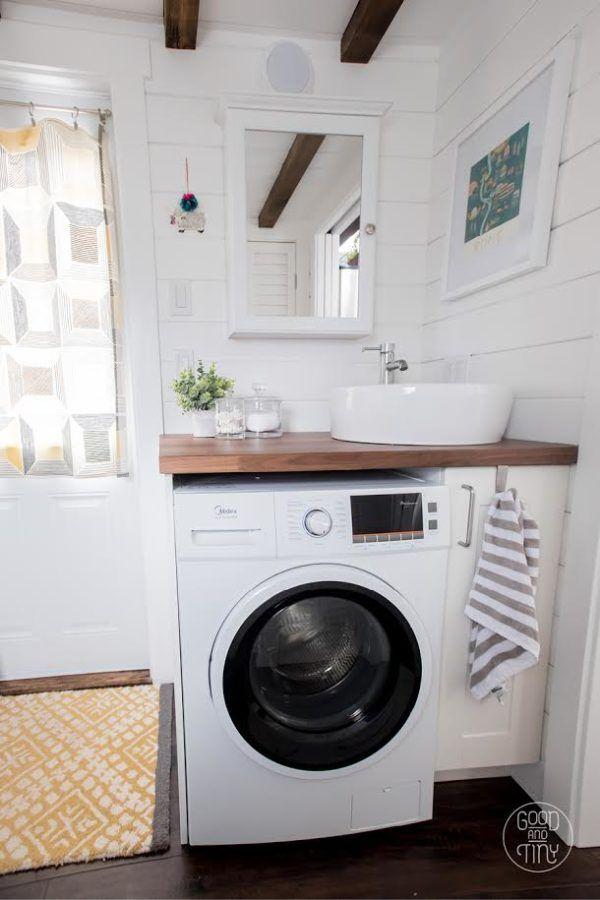 Interview (u0026 Video): Jadon And Katieu0027s Good And Tiny House Bathroom Sink Washer  Dryer