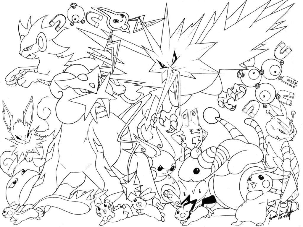 Electric Pokemon Line Pokemon Coloring Pages Pokemon Coloring Pokemon Coloring Sheets