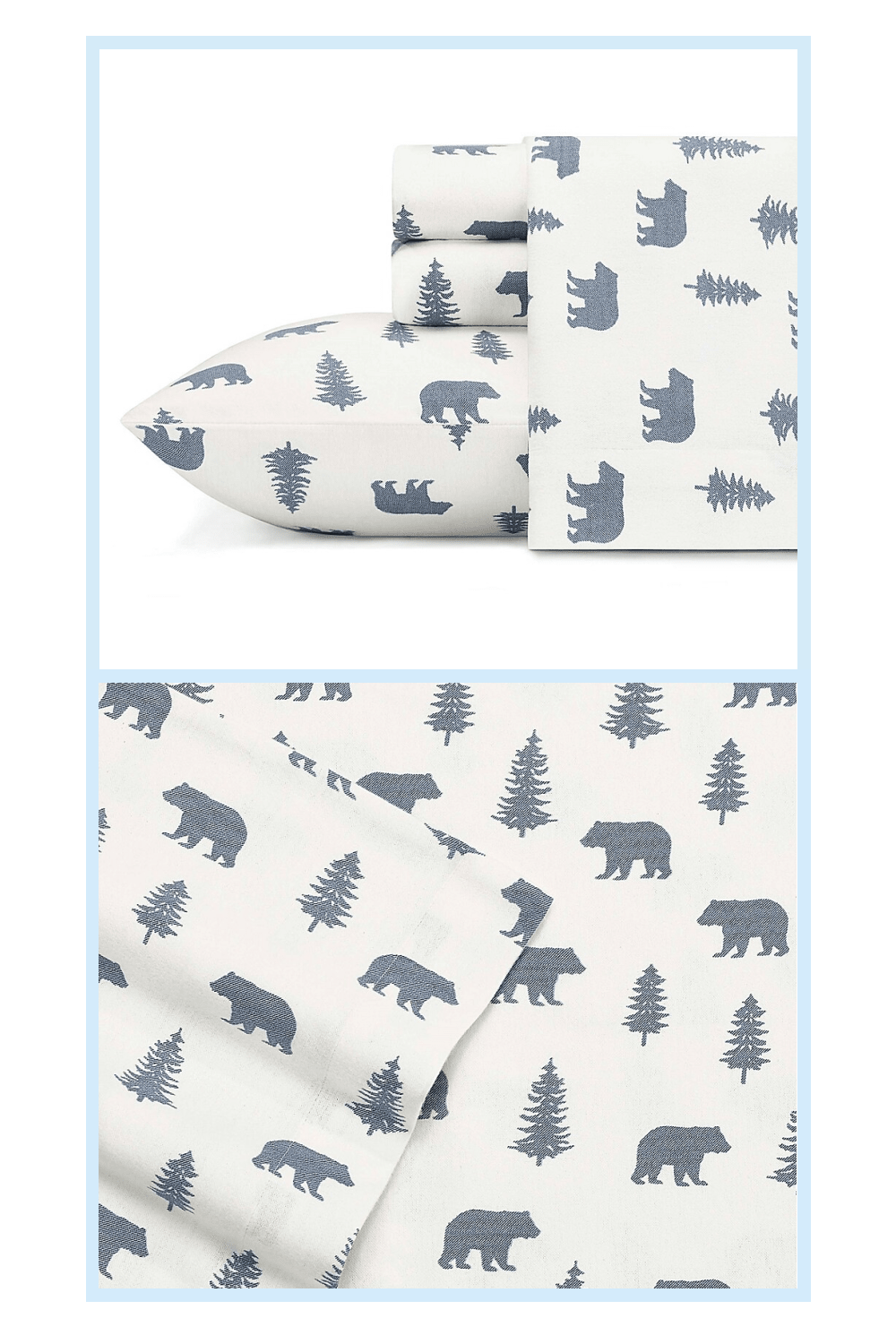 Eddie Bauer Bears And Trees Flannel Sheet Set In Blue In 2020 Sheet Sets Queen King Sheet Sets Twin Sheet Sets