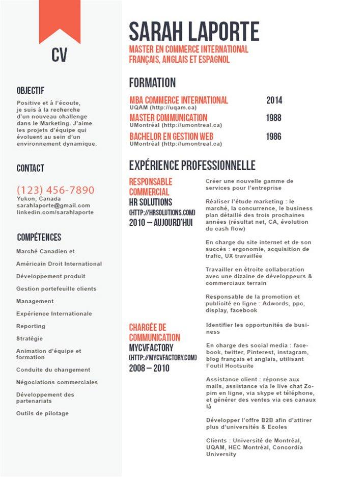 Le Jeu Des Polices Des Couleurs En Fait Un Joli Cv Assez Original Redaction De Cv Modele Cv Curriculum Vitae