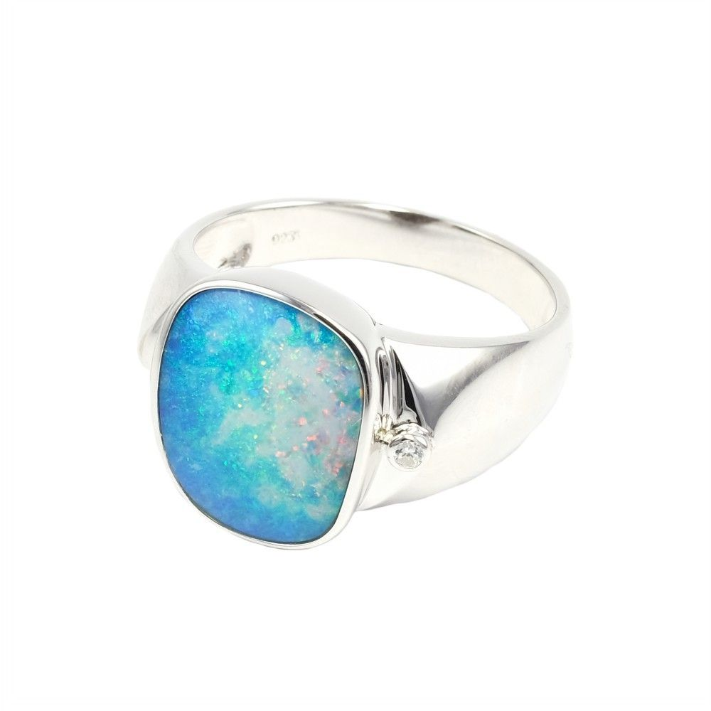 Tropical Paradise Sterling Silver Men S Australian Opal Ring Australian Opal Ring Sterling Silver Mens Silver Opal Ring