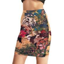 Summer Sexy Floral Skirt High Waist Skirts Womens Wrap Pencil Skirt Shorts Skirts  Chinese style print Sskt-0020 Jupe Crayon Rok(China) 410a4314f473