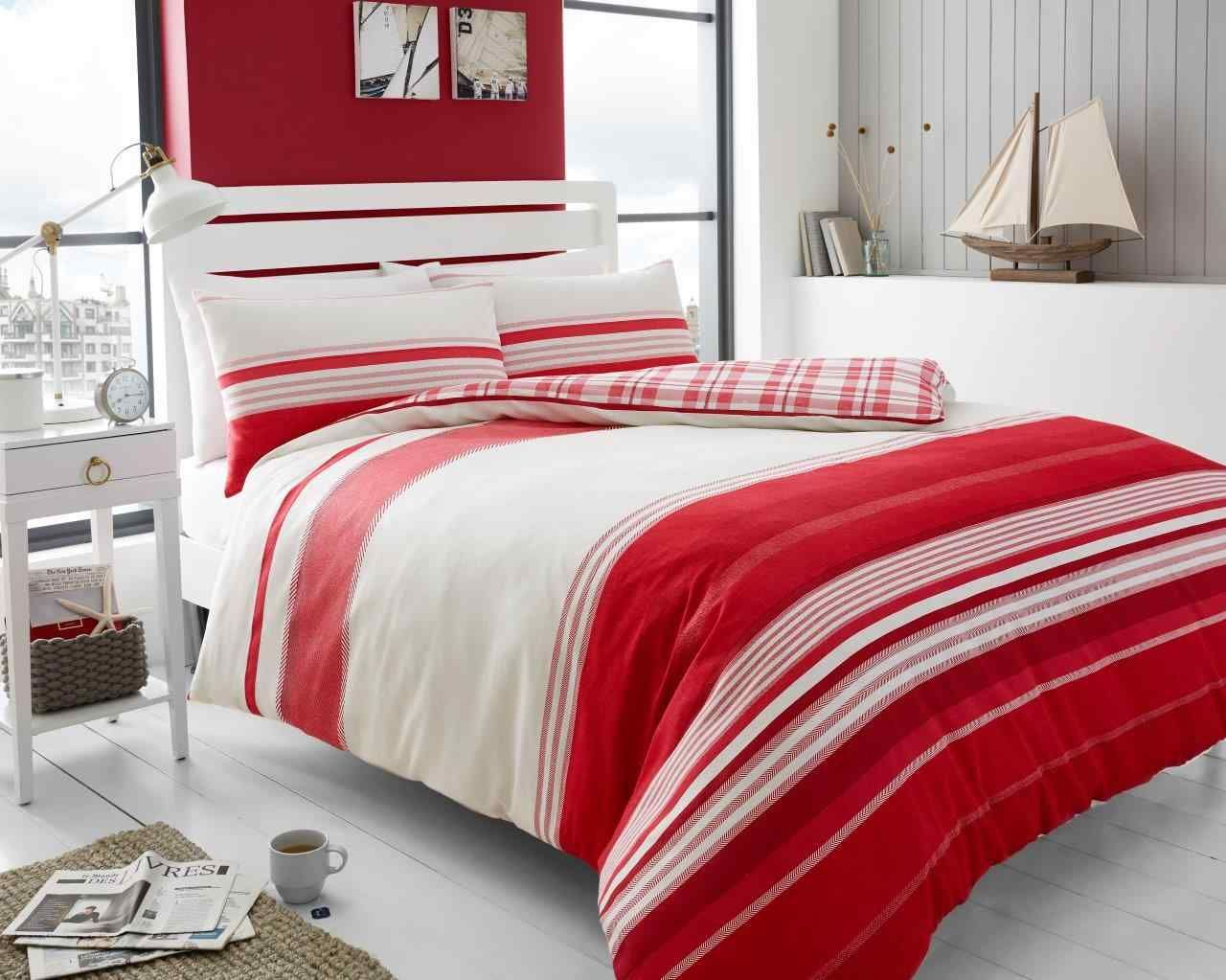 Wonderful Herringbone Stripe Duvet Quilt Cover Bedding Set | Red U2014 Linens Range