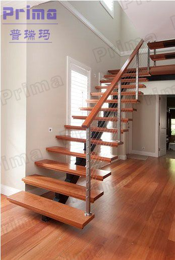 Best Modern Indoor Straight Staircase With Solid Wood Tread 640 x 480