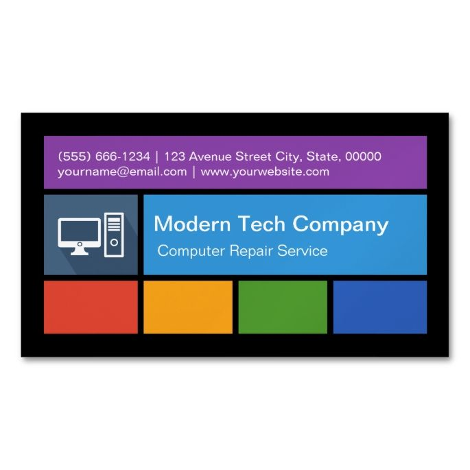 Computer Repair Retailer Colorful Tiles Creative Business Card Magnet Zazzle Com Business Cards Creative Magnetic Business Cards Computer Repair