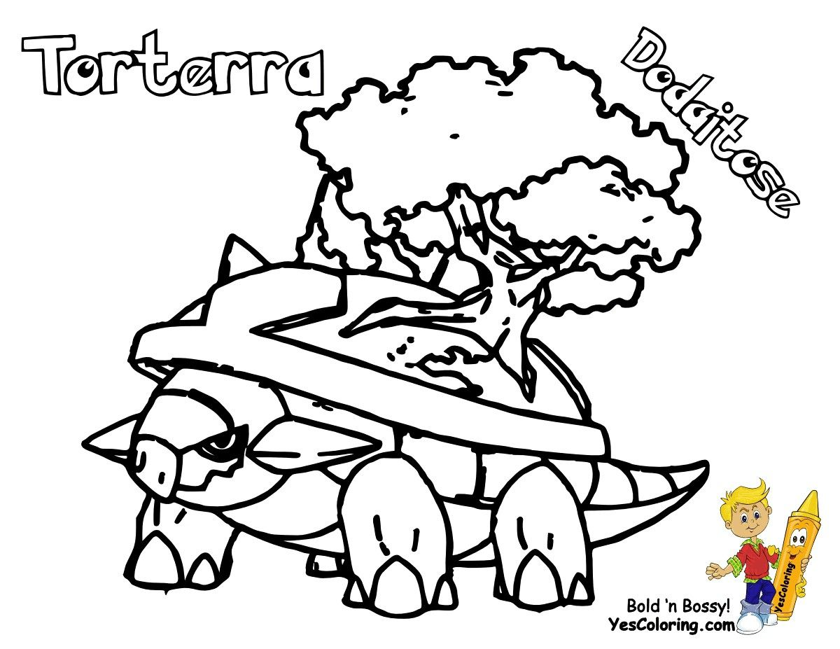 Pokemon Torterra Coloring Pages Through The Thousand