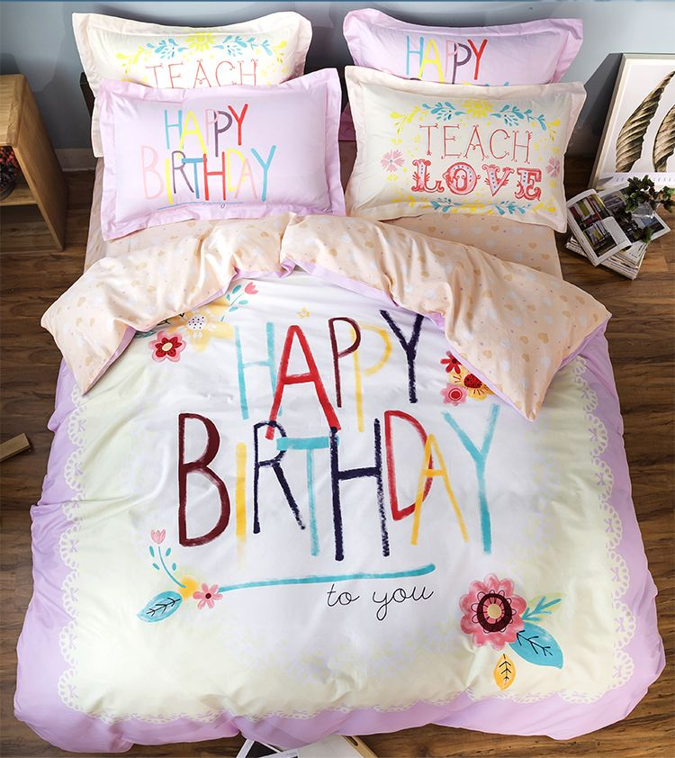 High Quality Cotton Happy Birthday Comforter Quilt Bedding