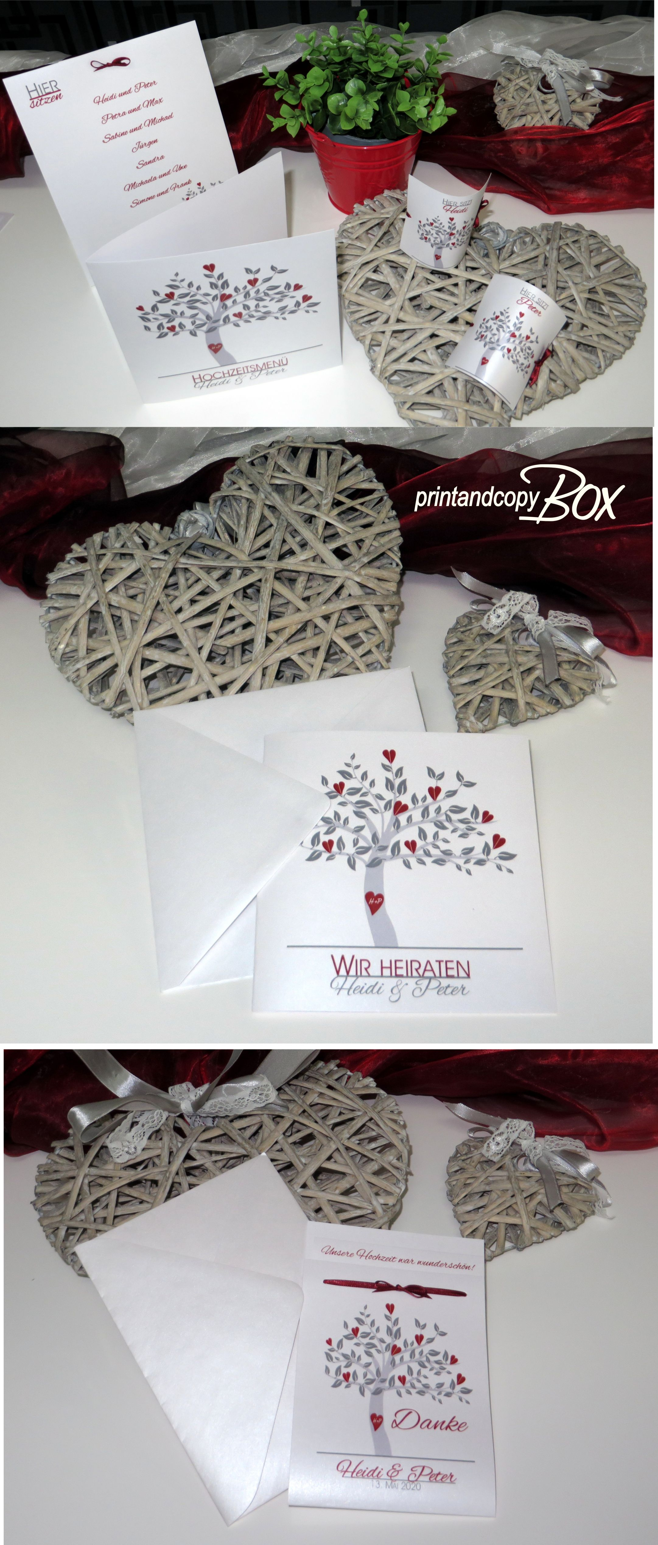 Hochzeitskarten In Rot Und Grau Mit Einem Baum Hochzeitspapeterie