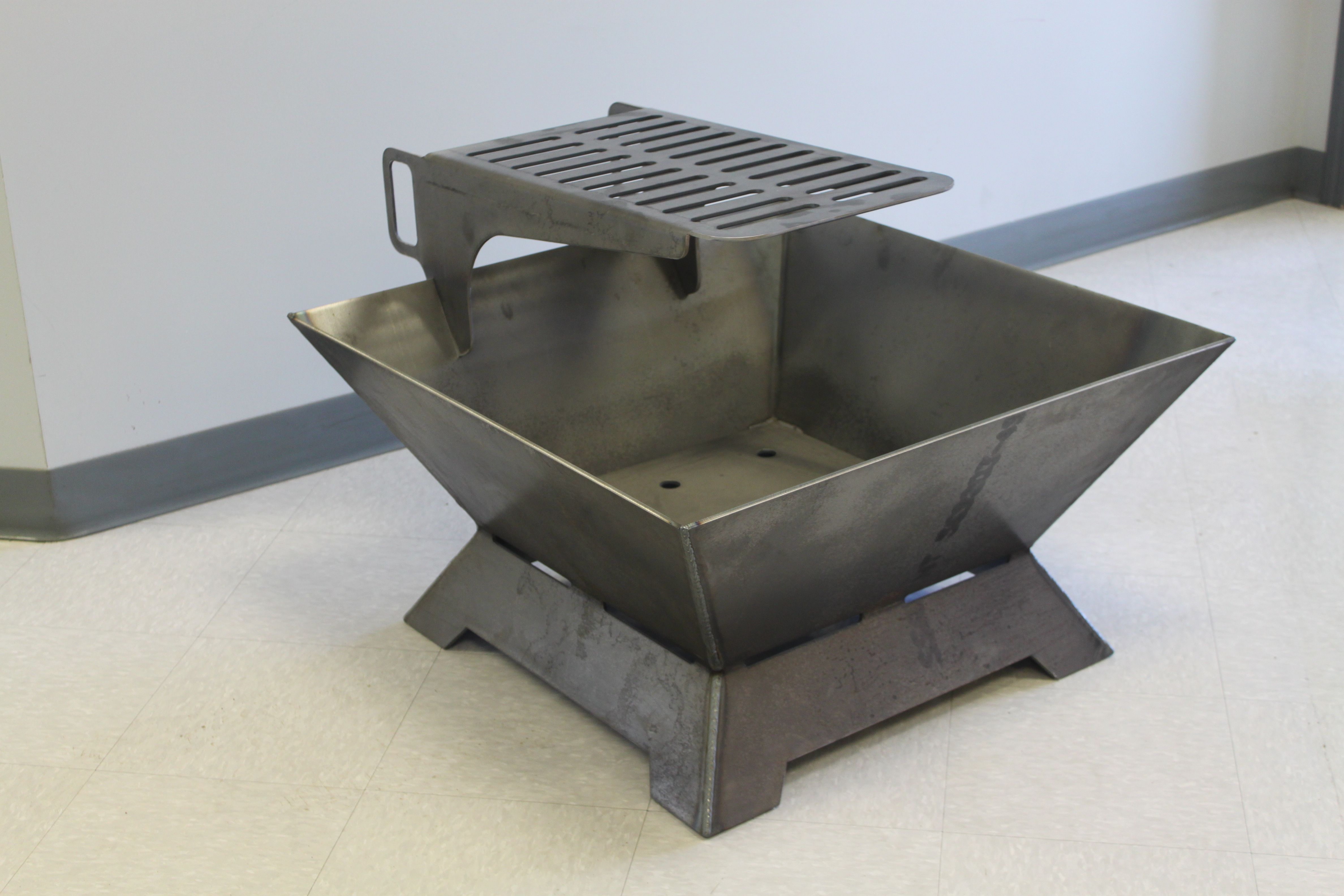 Square Steel Firepit Custom Grill Heating And Air Conditioning