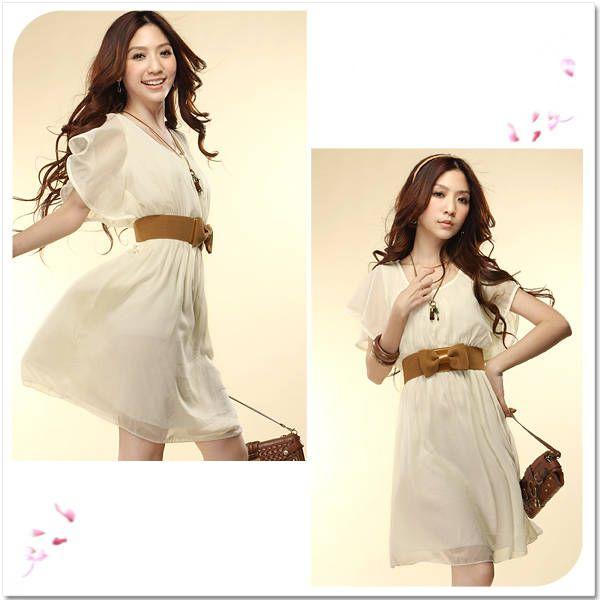 Summer Women's Girl's Vintage Chiffon Pleated Slim Dress Casual Light Dress   eBay