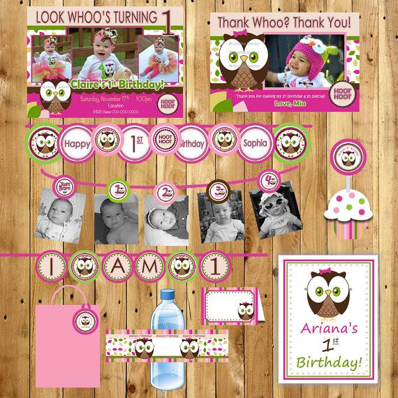 Owl Birthday Party Package Girl or Boy Look Whoos turning 1 Owl