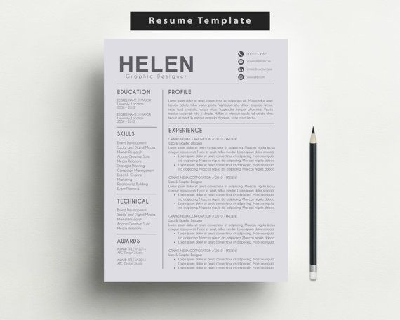 Modern Resume Template | Cover Letter + Reference Letter For Word